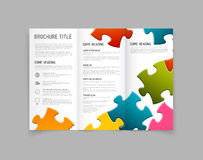 Modern Vector three fold brochure design template. Modern Vector three fold brochure / leaflet / flyer design template with puzzle pieces Stock Images