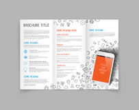 Modern Vector three fold brochure design template. Modern Vector three fold brochure / leaflet / flyer design template with smartphone Stock Photos