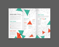 Modern Vector three fold brochure design template. Modern Vector three fold brochure / leaflet / flyer design template with triangles Royalty Free Stock Photo