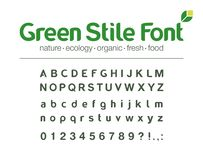 Modern Vector Typeface. Universal Font. Food, Drink, Organic, Nature, Green Energy, Bio Medicine Abc. Product Eco Stock Photo