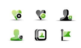 Modern vector web green & black icon set Royalty Free Stock Photography
