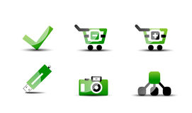 Modern vector web green & black icon set Stock Photos