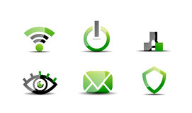 Modern vector web green & black icon set Stock Images