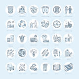 Modern vectorlijnpictogram van afval het sorteren, recycling Huisvuilinzameling Rekupereerbaar afval - document, glas, plastiek,  Royalty-vrije Stock Foto's