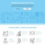 Modern vectorlijnpictogram van hogere en bejaarde zorg Verpleeghuiselementen - gehandicapten, geneesmiddelen, de knoop van de het Stock Fotografie