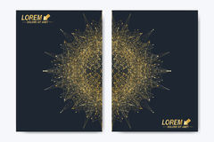 Modern vectormalplaatje voor brochure, Pamflet, vlieger, dekking, tijdschrift of jaarverslag Gouden lay-out in A4 grootte Royalty-vrije Stock Foto's