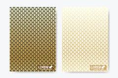 Modern vectormalplaatje voor brochure, Pamflet, vlieger, dekking, tijdschrift of jaarverslag A4 grootte Luxe gouden oplossingen Royalty-vrije Illustratie