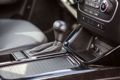 Modern vehicle interior with automatic gear shift Stock Images