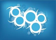 Modern vektorblått och vit cirklar bakgrund Arkivfoton