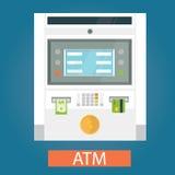 Modern vektorillustration av ATM-maskiner Stock Illustrationer