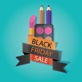 Modern vektorillustration av den svarta fredag försäljningen, kosmetiskt lager, Stock Illustrationer