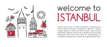 Modern vektorillustrationvälkomnande till Istanbul arkivbild