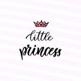 Modern vektorkalligrafi liten princess Handskrivet uttryck Unget-skjorta design royaltyfri illustrationer