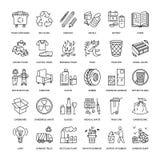 Modern vektorlinje symbol av förlorad sortering, återvinning Avskrädesamling Återanvändbar avfalls - papper, exponeringsglas, pla stock illustrationer