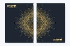 Modern vektormall för broschyr, broschyr, reklamblad, räkning, tidskrift eller årsrapport Guld- orientering i formatet A4 Royaltyfria Foton
