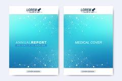 Modern vektormall för broschyr, broschyr, reklamblad, räkning, tidskrift eller årsrapport Molekylär orientering i formatet A4 royaltyfri illustrationer