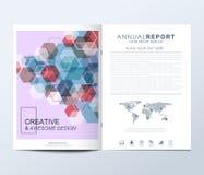 Modern vektormall för broschyr, broschyr, reklamblad, annons, räkning, katalog, tidskrift eller årsrapport fyrkanter på måfå stock illustrationer