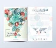 Modern vektormall för broschyr, broschyr, reklamblad, annons, räkning, katalog, tidskrift eller årsrapport fyrkanter på måfå royaltyfri illustrationer
