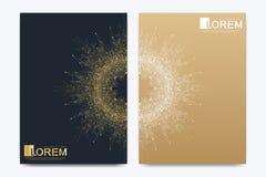 Modern vektormall för tidskrift eller årsrapport för katalog för räkning för broschyrbroschyrreklamblad Guld- orientering i forma stock illustrationer