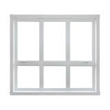 Modern venster dat op witte achtergrond wordt geïsoleerdR Royalty-vrije Stock Foto's