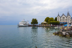 Modern vessel named Lausanne in Vevey Royalty Free Stock Images