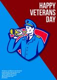 Modern Veterans Day Soldier Bugle Greeting Card. Greeting card poster showing illustration of an American soldier with bugle bugling set inside crest shield done Royalty Free Stock Photo
