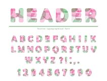 Modern vibrant font. Stylized letters and numbers in pastel colors. For brochure header, poster, flyer design. Vector illustration Stock Photography