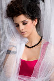 Modern Victorian Brunette Model In Red Dress Royalty Free Stock Photos