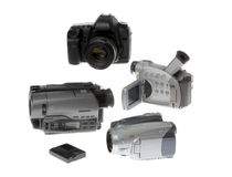 Modern Video Cameras Isolated on White Royalty Free Stock Photo