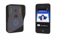 Modern Video Intercom With Mobile Phone Controller Royalty Free Stock Photos