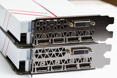 Modern videocards, Ports of a conclusion on the videocard Stock Photography