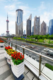 Modern view of Century Avenue and skyscrapers, Shanghai, China Stock Photos