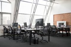 Modern view of empty office space interior stock photos