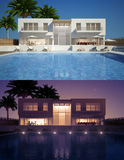 Modern villa day and night view Stock Photo