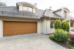 Modern villa with garage idea Royalty Free Stock Images
