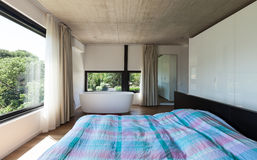 Modern villa, interior, bedroom Royalty Free Stock Photos