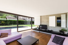 Modern villa, interior, living room Stock Images