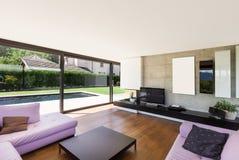 Modern villa, interior, living room stock images