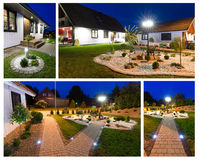 Modern villa at night- collage. Modern Swedish villa scenery at the night time royalty free stock photography