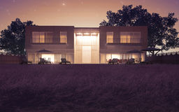 Modern villa night view. Modern villa with big meadow night view royalty free illustration