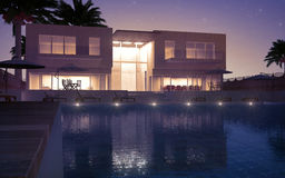 Modern villa night view Stock Images