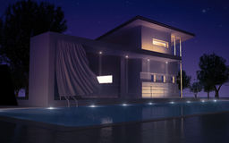 Modern villa night view. Modern villa with water pool night view vector illustration