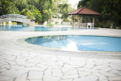 Modern villa outdoor with swimming pool and gazebo Stock Photo