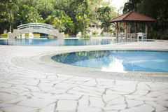 Modern villa outdoor with swimming pool and gazebo Stock Photos