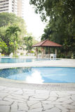 Modern villa outdoor with swimming pool and gazebo Stock Image