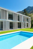 Modern villa with pool Stock Photos