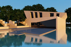 Modern villa sunset. Exterior modern style villa encircled to water Royalty Free Stock Images