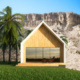 Modern villa for vacations. Palms and mountains around. 3d rende Royalty Free Stock Image