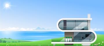 Modern villa vid havsbanret vektor illustrationer