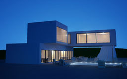 Modern villa with water pool Royalty Free Stock Images